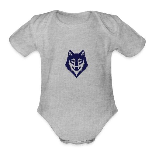9a45729d3404bccd07a3281e8b3a12ec wolf stencil wol - Organic Short Sleeve Baby Bodysuit