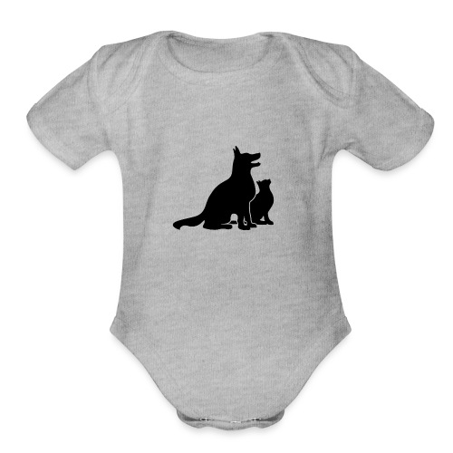 Dog and Cat Best Friends - Organic Short Sleeve Baby Bodysuit