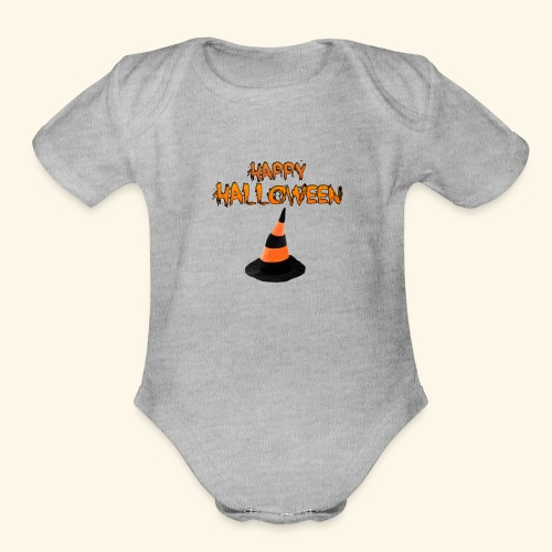 HAPPY HALLOWEEN WITCH HAT TEE - Organic Short Sleeve Baby Bodysuit
