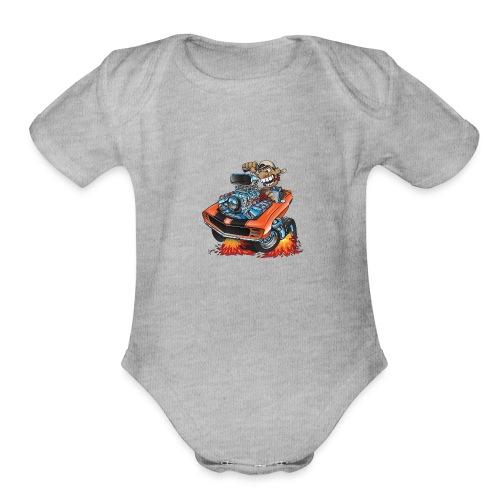Classic 69 Muscle Car Cartoon - Organic Short Sleeve Baby Bodysuit