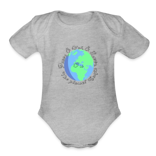 Peace and war and love on the planet earth - Organic Short Sleeve Baby Bodysuit