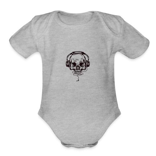 music skull head - Organic Short Sleeve Baby Bodysuit