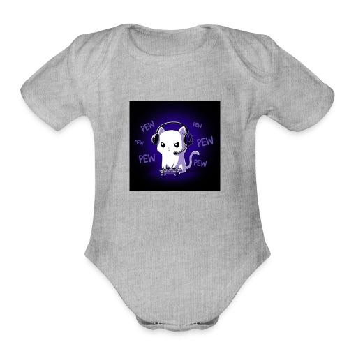 Pew Pew Kitty clean grande - Organic Short Sleeve Baby Bodysuit