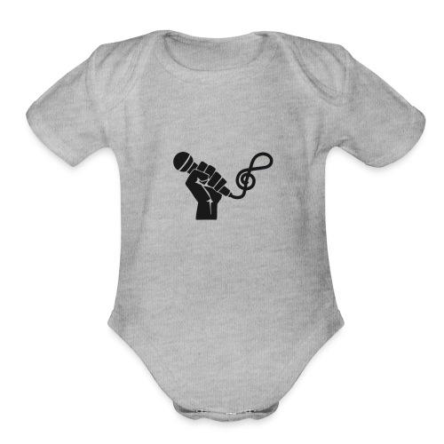 music microphone fist - Organic Short Sleeve Baby Bodysuit