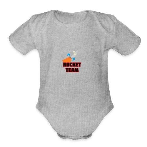 Rocket Team Logo Red Text - Organic Short Sleeve Baby Bodysuit
