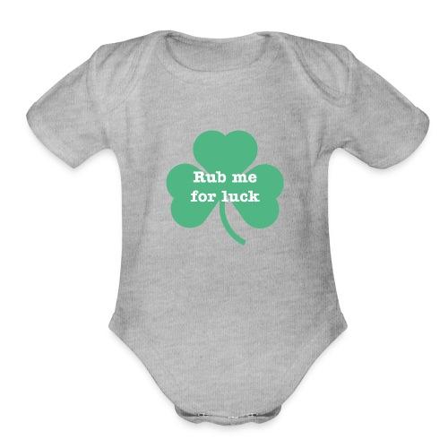 Rub me for luck - Organic Short Sleeve Baby Bodysuit