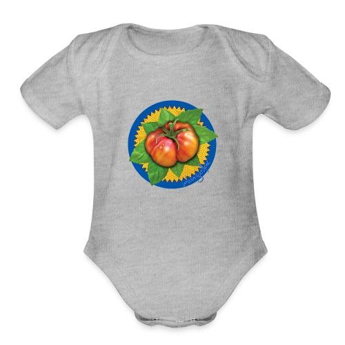 Heirloom Tomato Art, by Urban Gardens - Organic Short Sleeve Baby Bodysuit