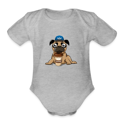 Coffee pug - Organic Short Sleeve Baby Bodysuit