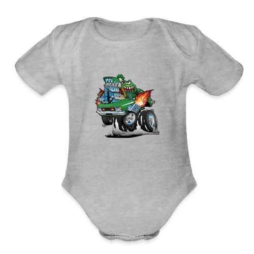 Seventies Green Hot Rod Funny Car Cartoon - Organic Short Sleeve Baby Bodysuit