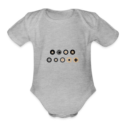 Axis & Allies Country Symbols - 3 Color - Organic Short Sleeve Baby Bodysuit