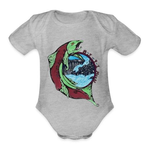 Salmon Moon - Organic Short Sleeve Baby Bodysuit