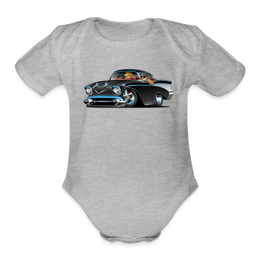 Classic hot rod fifties muscle car - Organic Short Sleeve Baby Bodysuit
