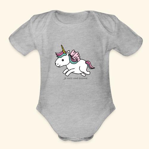 Je suis une licorne - Organic Short Sleeve Baby Bodysuit