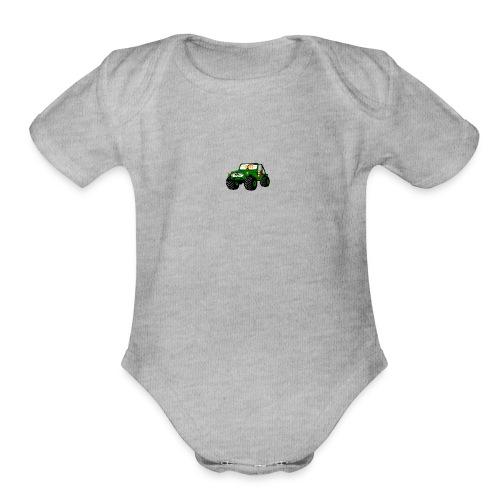 Happy Toy Jeep Green - Organic Short Sleeve Baby Bodysuit