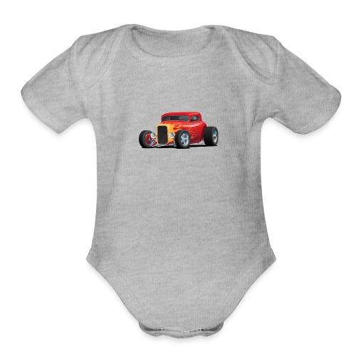 Classic Bold Red Custom Street Rod - Organic Short Sleeve Baby Bodysuit