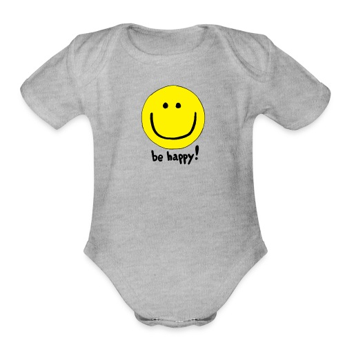 Be Happy Smiley Face - Organic Short Sleeve Baby Bodysuit