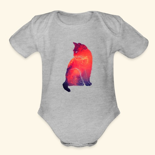 Cat Ganlaxy red - Organic Short Sleeve Baby Bodysuit