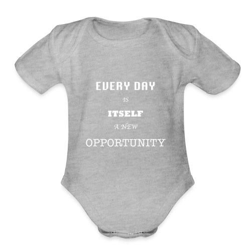 Opportunity (in White) - Organic Short Sleeve Baby Bodysuit