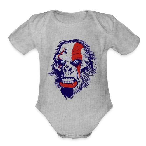 t shirt design 26 gorilla kratos by marekpl d - Organic Short Sleeve Baby Bodysuit