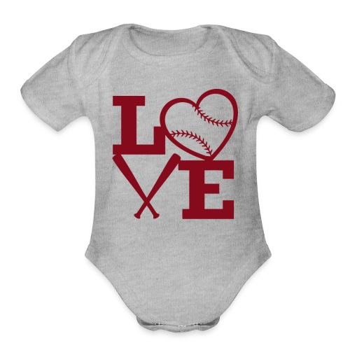 Love baseball - Organic Short Sleeve Baby Bodysuit