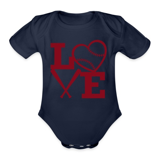 Love baseball - Organic Short Sleeve Baby Bodysuit