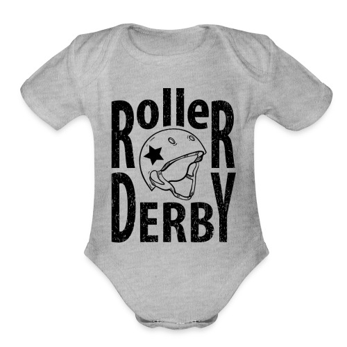 Roller derby helmet typography - Organic Short Sleeve Baby Bodysuit
