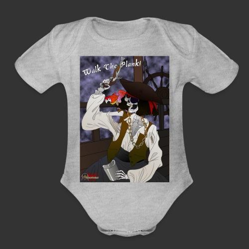 Walk The Plank Fog Background - Organic Short Sleeve Baby Bodysuit