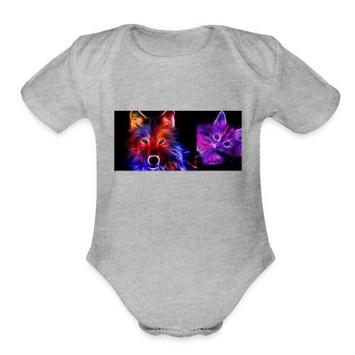 neon animals - Organic Short Sleeve Baby Bodysuit