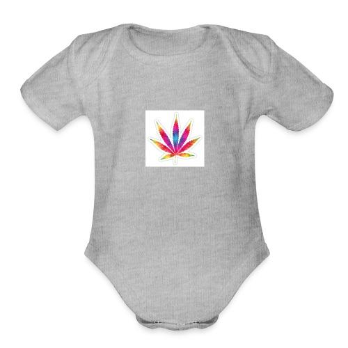 weed leaf2 0 - Organic Short Sleeve Baby Bodysuit