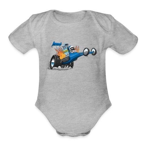 Top Fuel Dragster Cartoon - Organic Short Sleeve Baby Bodysuit