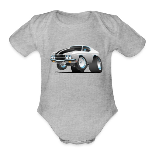 Classic 70's American Muscle Car Cartoon - Organic Short Sleeve Baby Bodysuit