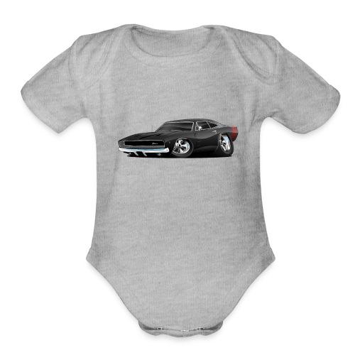 Classic 60's American Muscle Car Cartoon - Organic Short Sleeve Baby Bodysuit