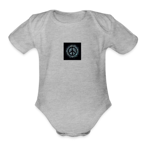 A DESIGN SHOWING PEACE - Organic Short Sleeve Baby Bodysuit