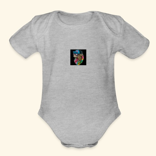 Tommy The Cats Kid and Babies wearing - Organic Short Sleeve Baby Bodysuit