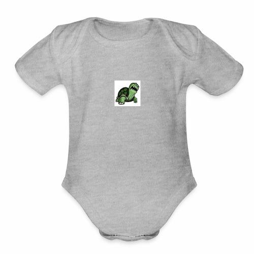 turtle gang logo - Organic Short Sleeve Baby Bodysuit