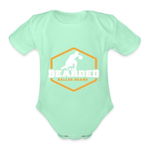 The Bearded Baller Brand White and Gold - Organic Short Sleeve Baby Bodysuit