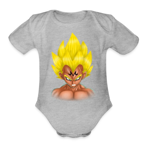 vegeta front majin boo - Organic Short Sleeve Baby Bodysuit