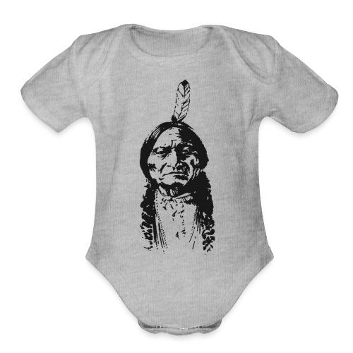 Vintage Indian Native American Funny - Organic Short Sleeve Baby Bodysuit