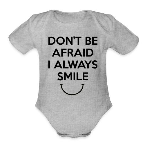 i always smile - Organic Short Sleeve Baby Bodysuit