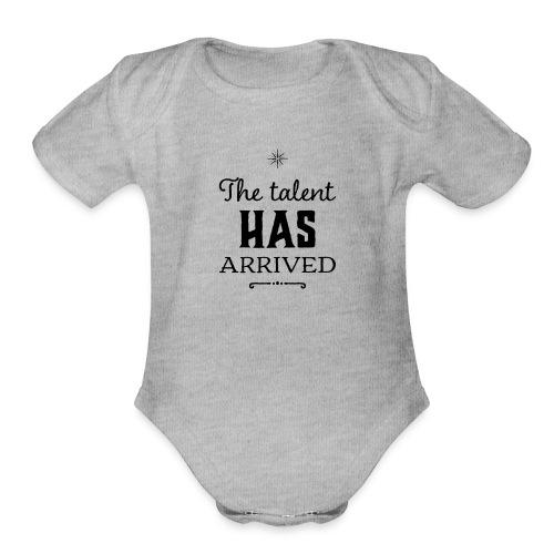 Talent has arrived (black) - Organic Short Sleeve Baby Bodysuit