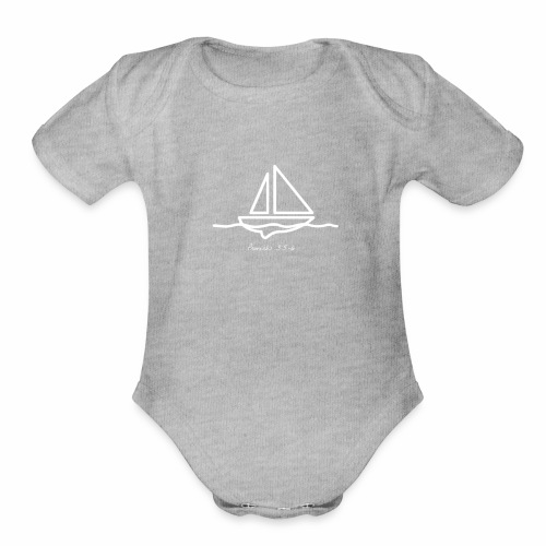 Sailboat logo, Proverbs 3:5-6 white 1 - Organic Short Sleeve Baby Bodysuit