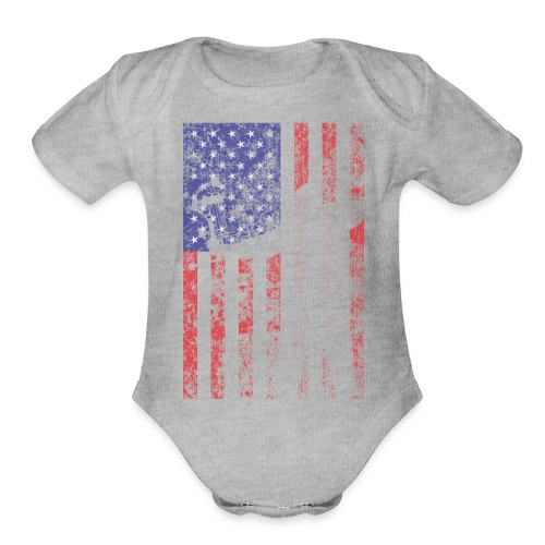 bow flag seperated2 - Organic Short Sleeve Baby Bodysuit