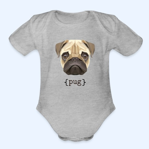 Cute Watercolor Pug Face Definition - Organic Short Sleeve Baby Bodysuit