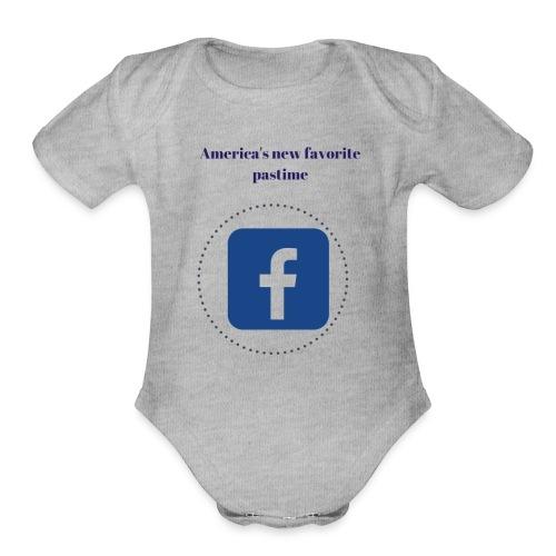 America's favorite pastime, facebook - Organic Short Sleeve Baby Bodysuit