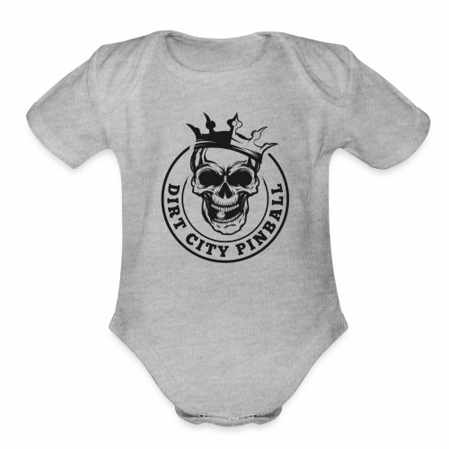 Dirt City Pinball Black/White Logo - Organic Short Sleeve Baby Bodysuit