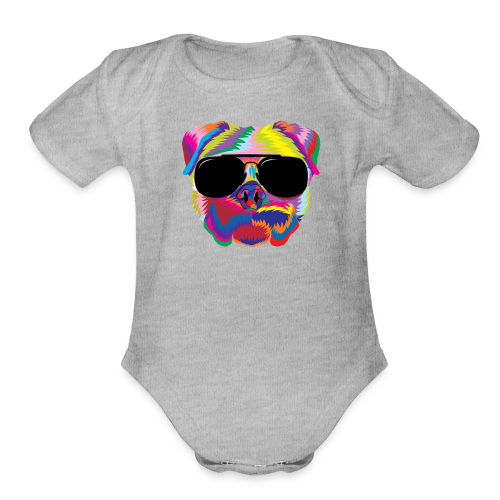 Psychedelic Pug Dog Face with Sunglasses - Organic Short Sleeve Baby Bodysuit