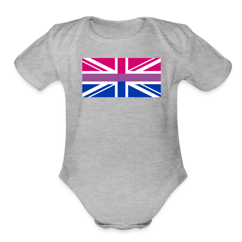 Gay Pride LGBT Bisexual Bi GB UK Union Jack Flag - Organic Short Sleeve Baby Bodysuit