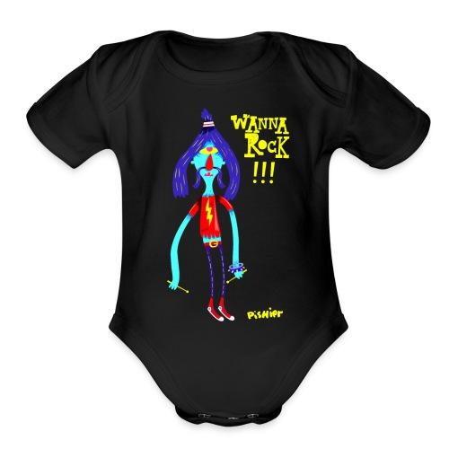 wannarock png - Organic Short Sleeve Baby Bodysuit