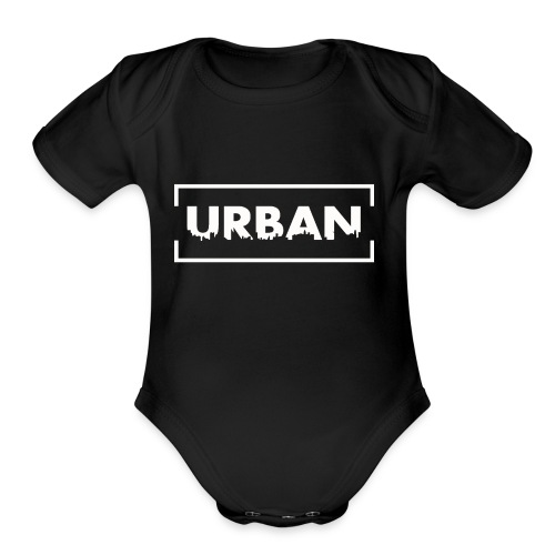 Urban City Wht - Organic Short Sleeve Baby Bodysuit