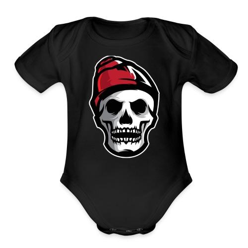Custom Skull With Ice Cap Merch! - Organic Short Sleeve Baby Bodysuit